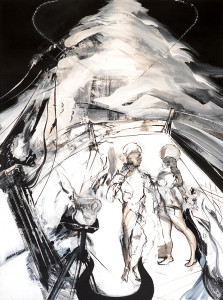 Web Size - La tercera Requiem in Black and White series 2007 Ink pigmets gesso on paper 50 X 38 in - 127 X 97 cm